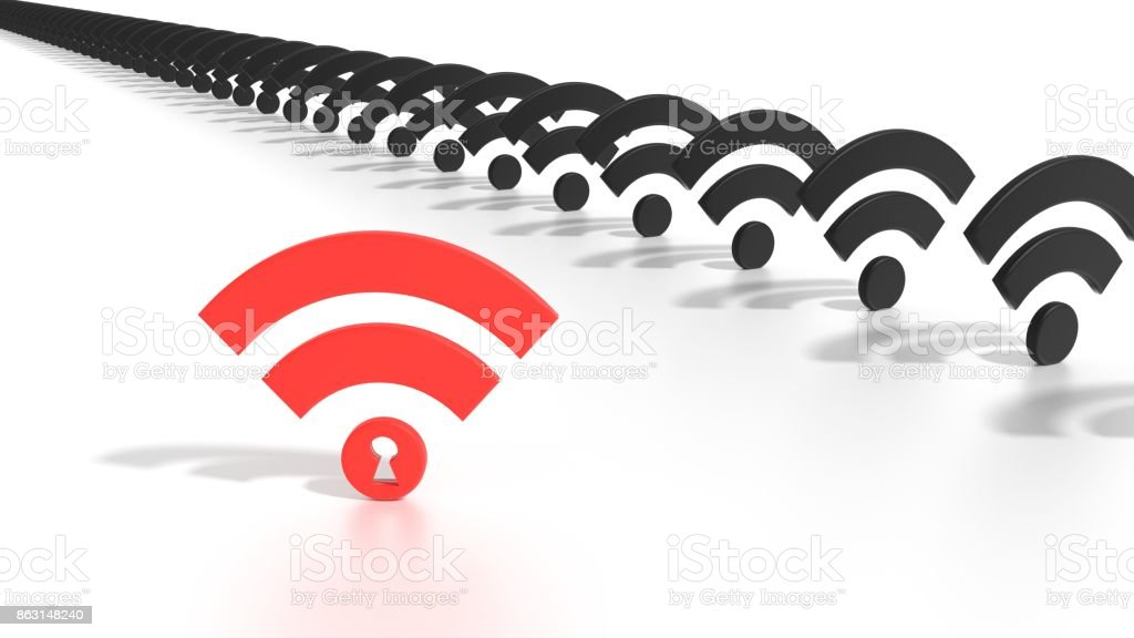 Hacked red keyhole wifi network WPA 2 vulnerability concept stock photo