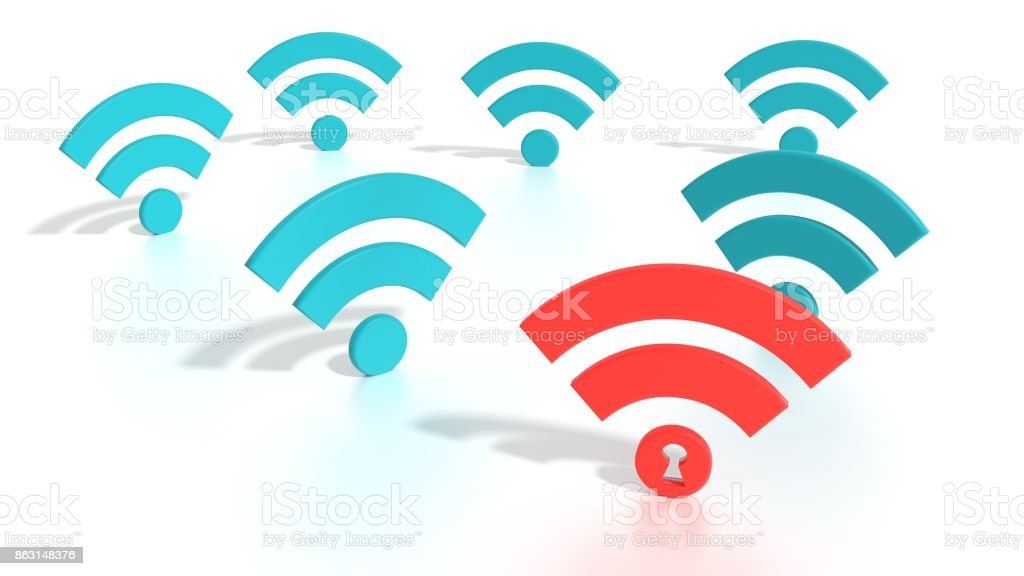 Hacked wifi network WPA 2 vulnerability concept stock photo