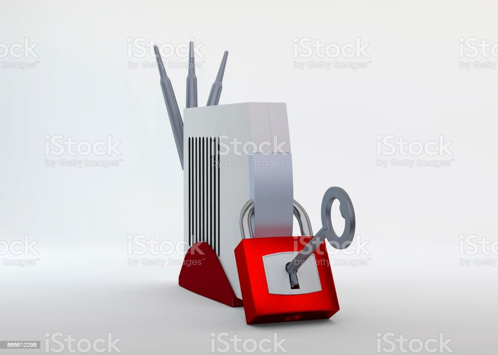 Hacked WLAN Router - Modem stock photo