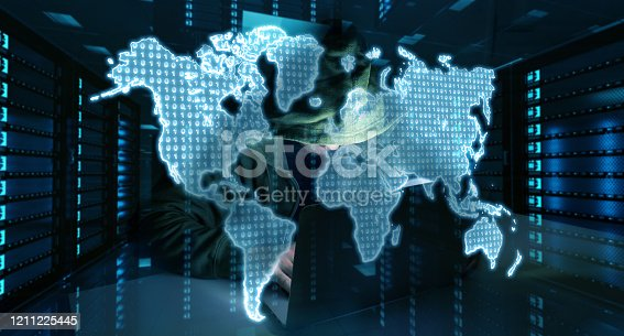 istock Hacker accessing to personal data information with a computer in a dark room 3D rendering 1211225445