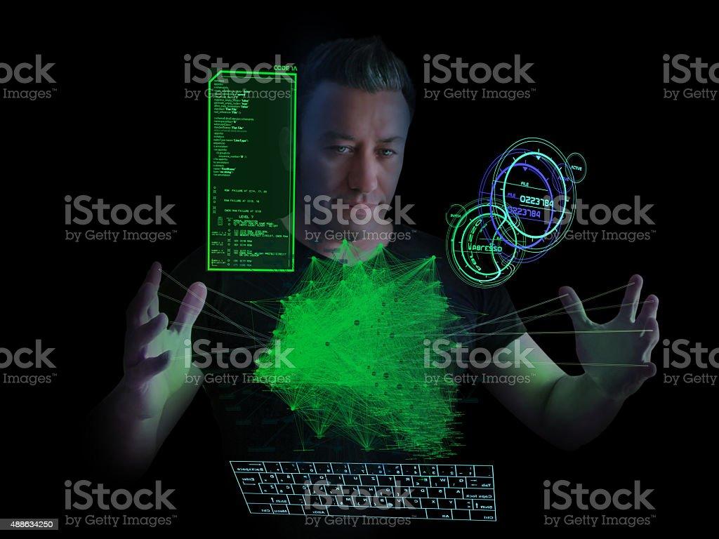Hacker and Social Madia Network stock photo
