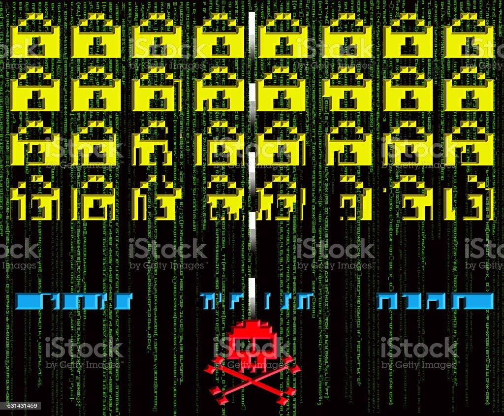 hacker ataque 8 bits de estilo - foto de acervo