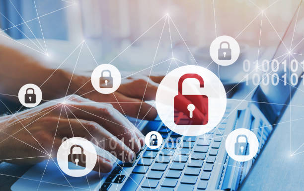 Hacker attack and data breach, information leak and cybersecurity concept. hacker attack and data breach, information leak concept, futuristic cyber  background with broken lock alertness stock pictures, royalty-free photos & images