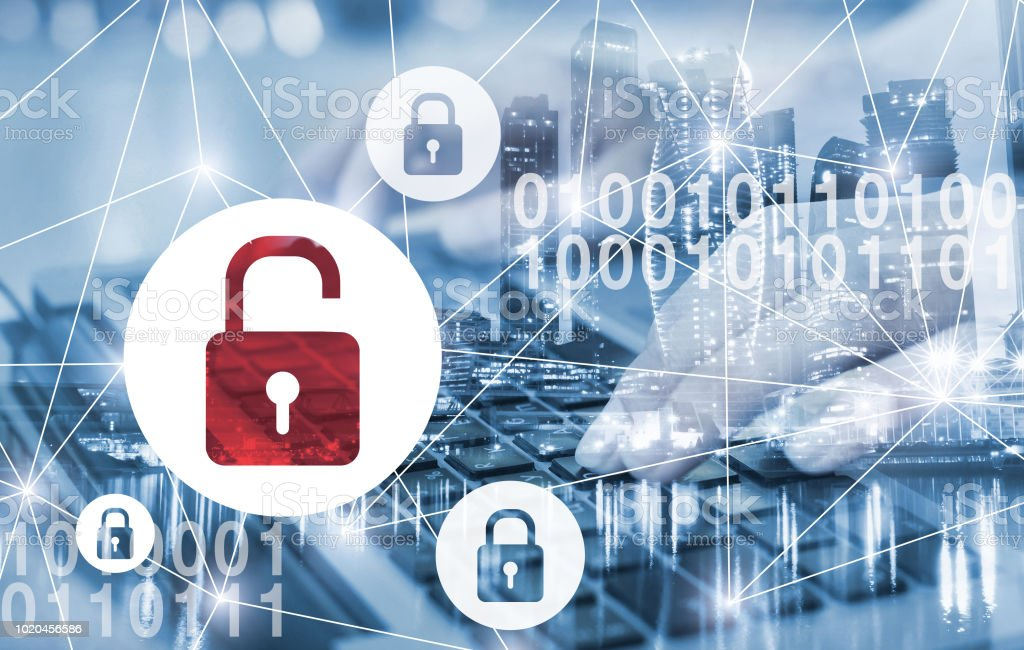hacker attack and data breach, information leak concept stock photo