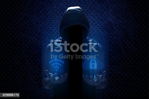 istock Hacker Checking Wireless Technology and Internet Security 529999170