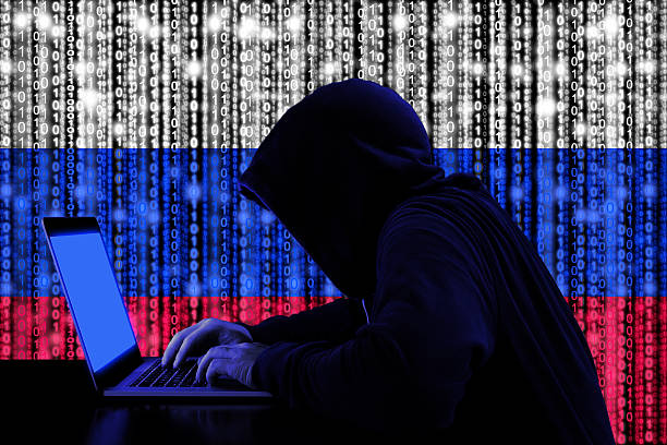 Hacker from russia at work cybersecurity concept ストックフォト