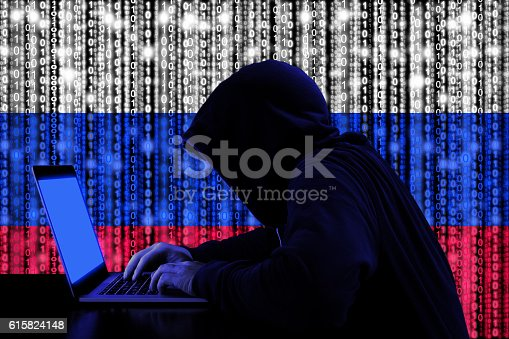 Hacker From Russia At Work Cybersecurity Concept Stock