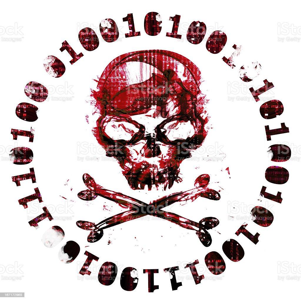 hacker icon with skull royalty-free stock photo