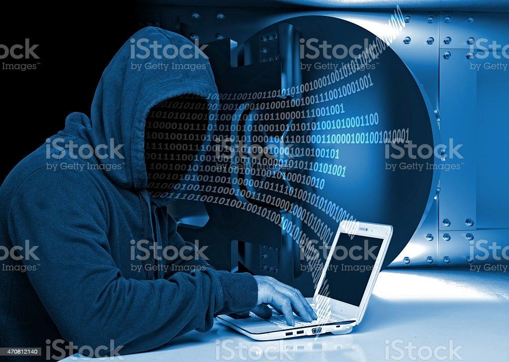 hacker em acção - fotografia de stock