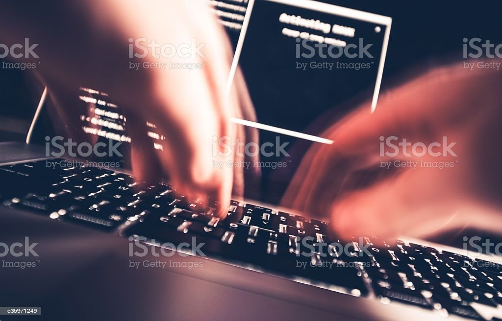 Hacker in Work stock photo