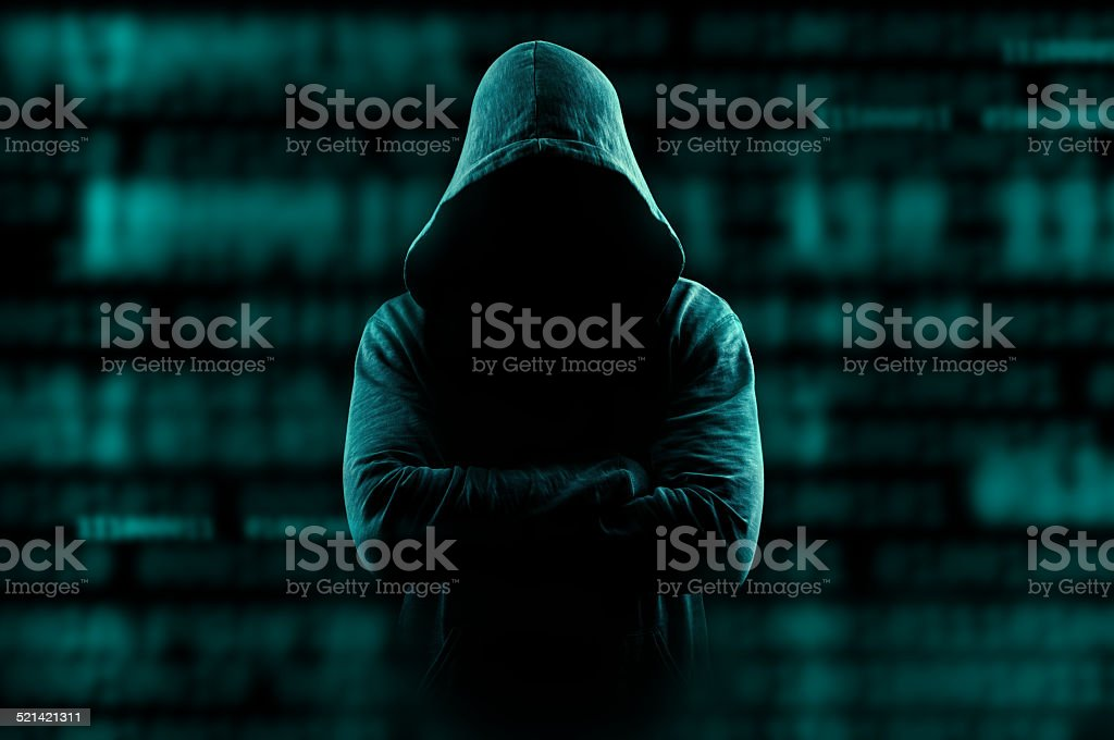 Hacker lurking on internet stock photo