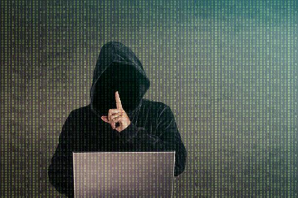 ハッカーを保持静かなジェスチャー - 不正直 ストックフォトと画像