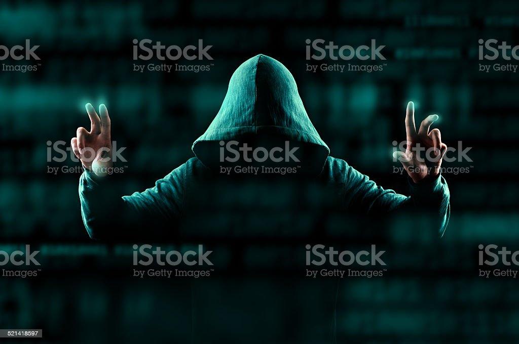 Hacker modifying data stock photo