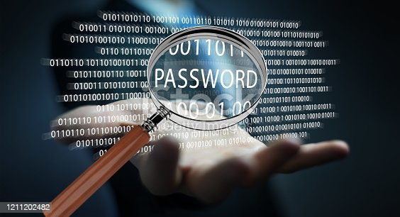 istock Hacker on blurred background using digital magnifying glass to find password 3D rendering 1211202482