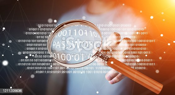 istock Hacker on blurred background using digital magnifying glass to find password 3D rendering 1211205636