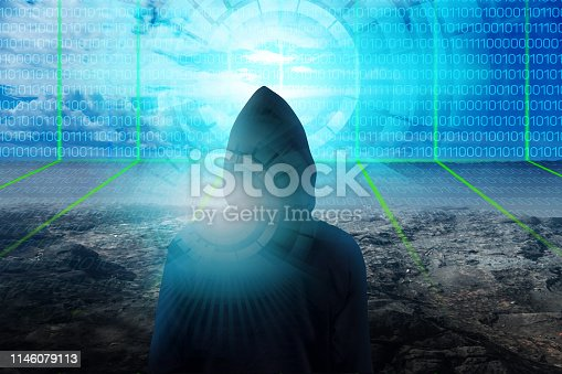 istock hacker over a screen with binary code 1146079113