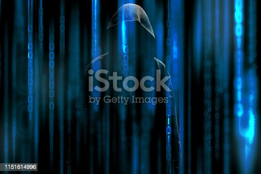 istock hacker over a screen with binary code 1151614996