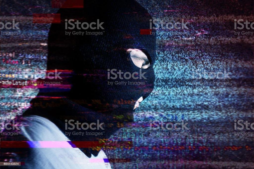 Hacker Portraite On The Background Noise Glitch Effect It