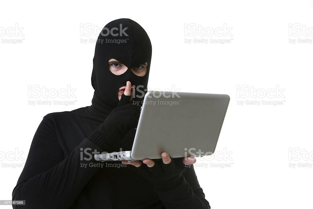 Hacker Shh on White royalty-free stock photo