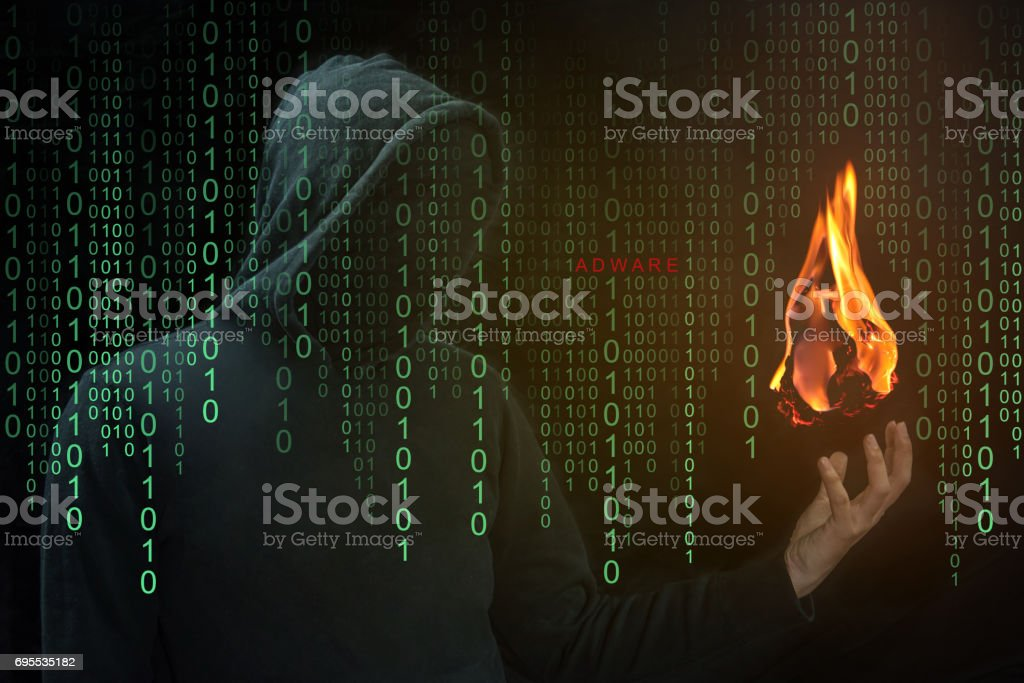 Hacker show a fireball on hand, Fireball Adware concept stock photo