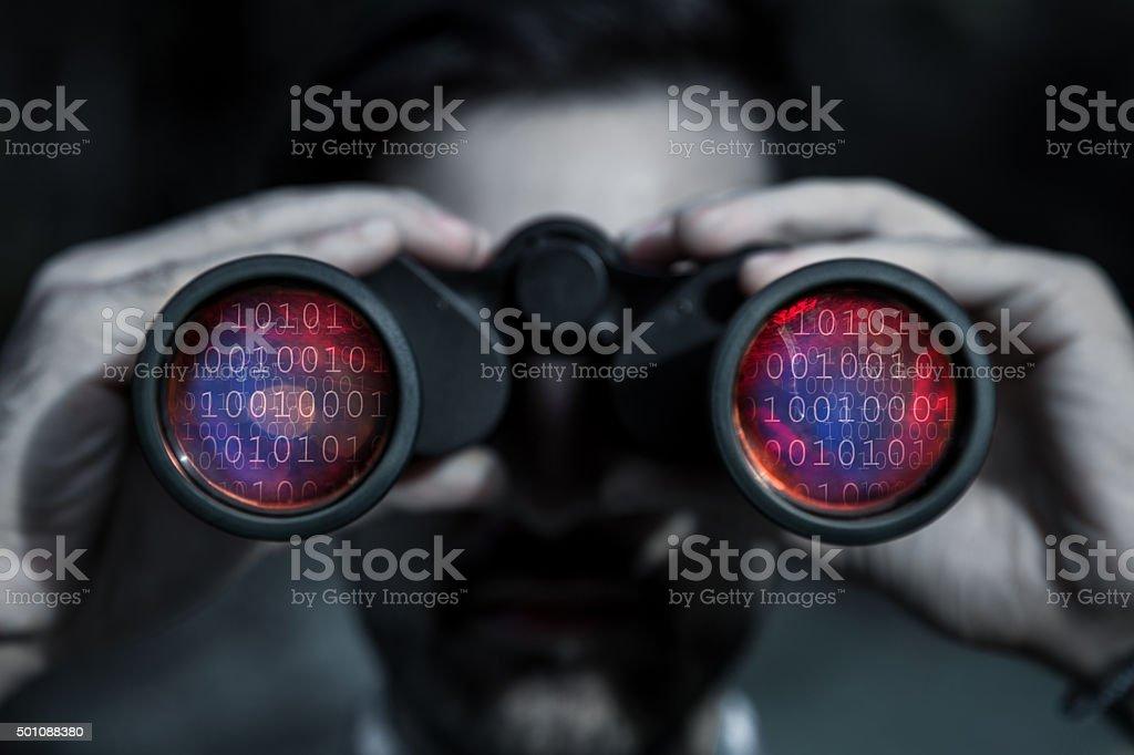 Hacker spy your data file stock photo