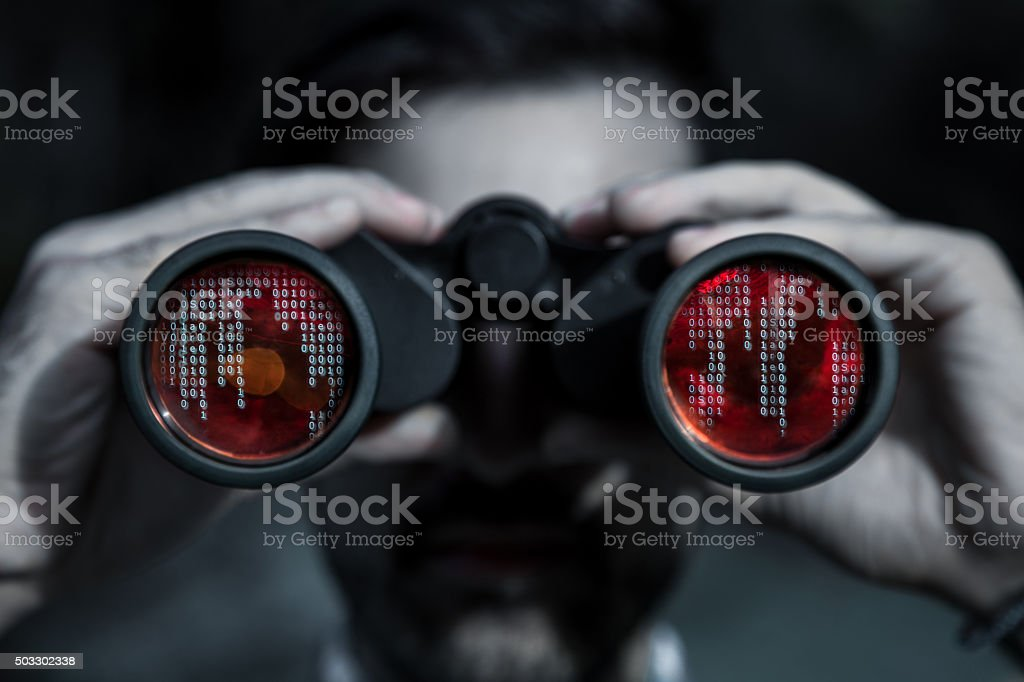 Hacker spy your data file stock photo