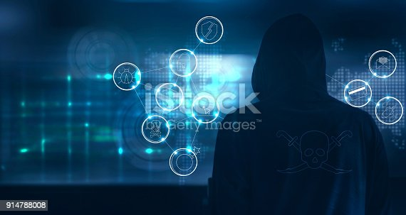istock Hacker standing and prepare to attack with cyber crime icons on world map and screen binary code background 914788008