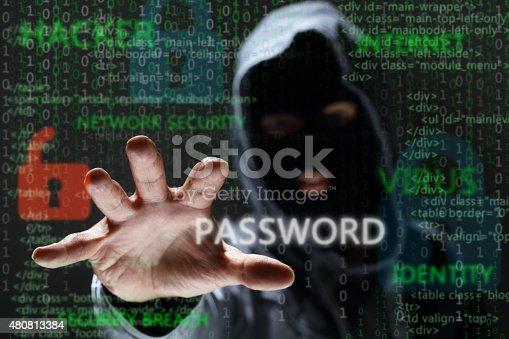 istock Hacker stealing network password 480813384