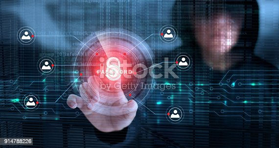 istock Hacker touching lock icon and password with binary code screen background. Cyber crime concept 914788226