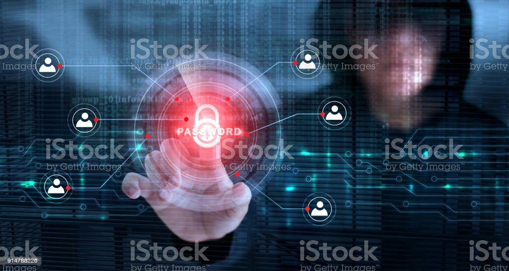Hacker touching lock icon and password with binary code screen background. Cyber crime concept stock photo