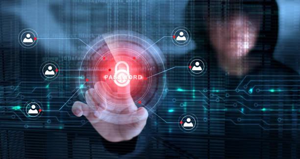 触れてロック アイコンとバイナリ コード画面の背景とパスワードのハッカー。サイバー犯罪の概念 - サイバー犯罪 ストックフォトと画像