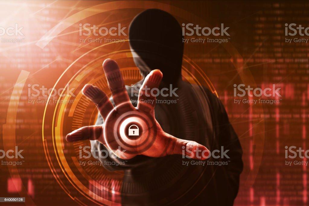 Hacker unlock data on computer stock photo