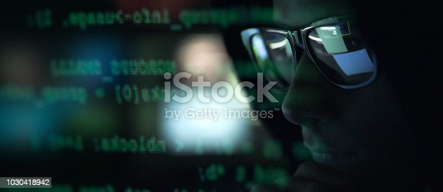 istock Hacker with sunglasses and code on the screen 1030418942