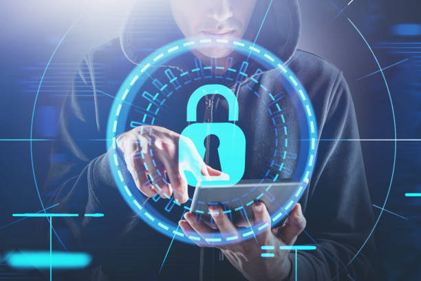 Hacker with tablet, cyber security HUD interface Young hacker using tablet computer with double exposure of HUD cyber security interface. Concept of cyber crime and identity theft. Toned image identity theft stock pictures, royalty-free photos & images