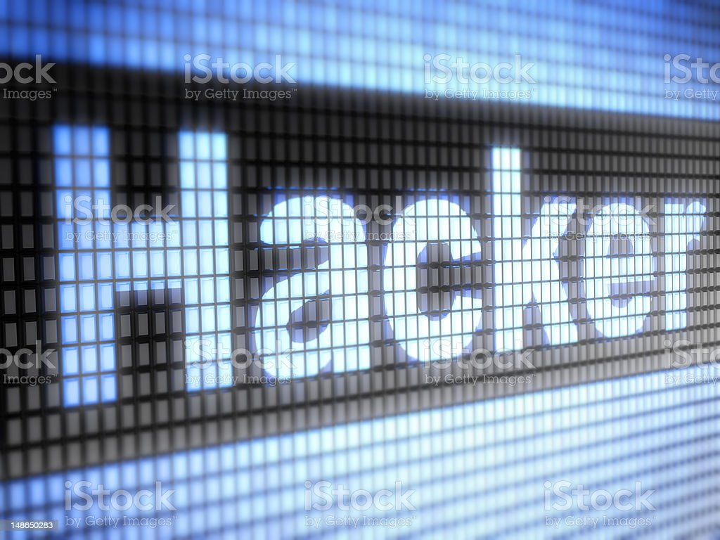 Hacker written in black box on computer screen royalty-free stock photo
