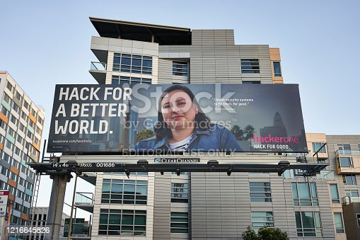 San Francisco, CA, USA - Feb 23, 2020: San-Francisco-based cybersecurity company HackerOne's billboard is seen in the city. HackerOne is a vulnerability coordination and bug bounty platform.