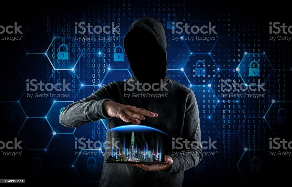 Hackers are manipulating city networks Hackers are manipulating city networks 5G Stock Photo