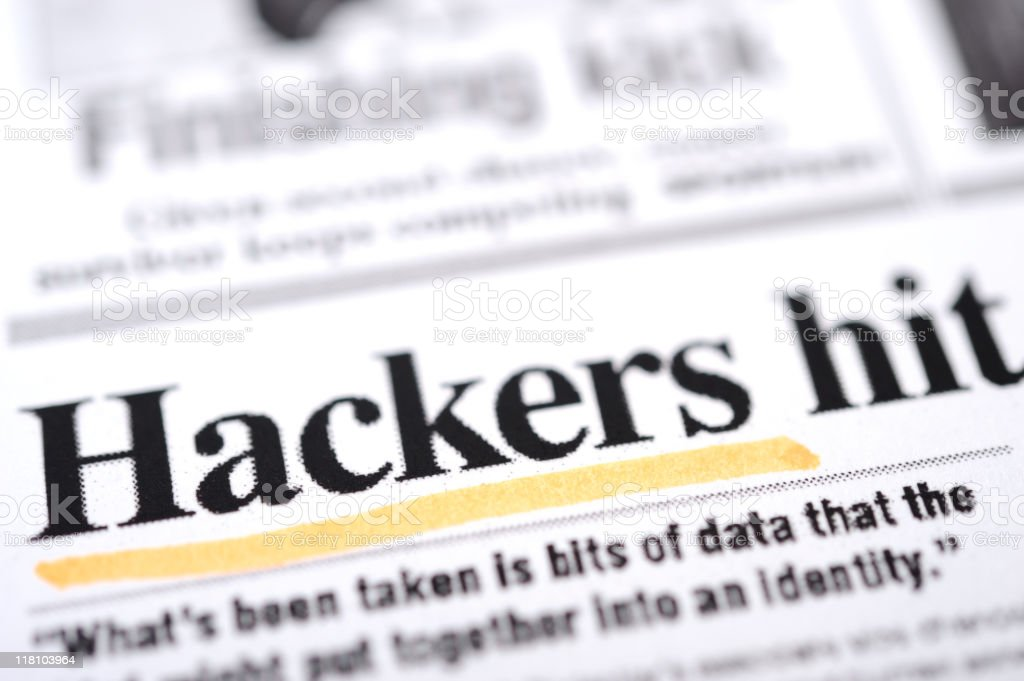 Hackers headlines stock photo