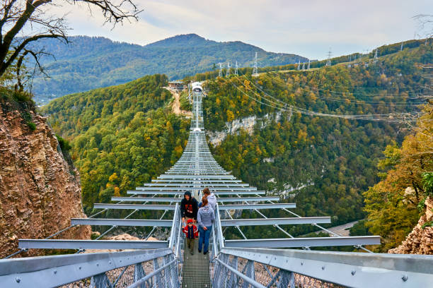 SKYPARK AJ Hackett Sochi is located in the Sochi National Park. The longest suspension footbridge in the world Sochi, Russia - OKTOBER 23, 2016: SKYPARK AJ Hackett Sochi is located in the Sochi National Park. The longest suspension footbridge in the world sochi stock pictures, royalty-free photos & images