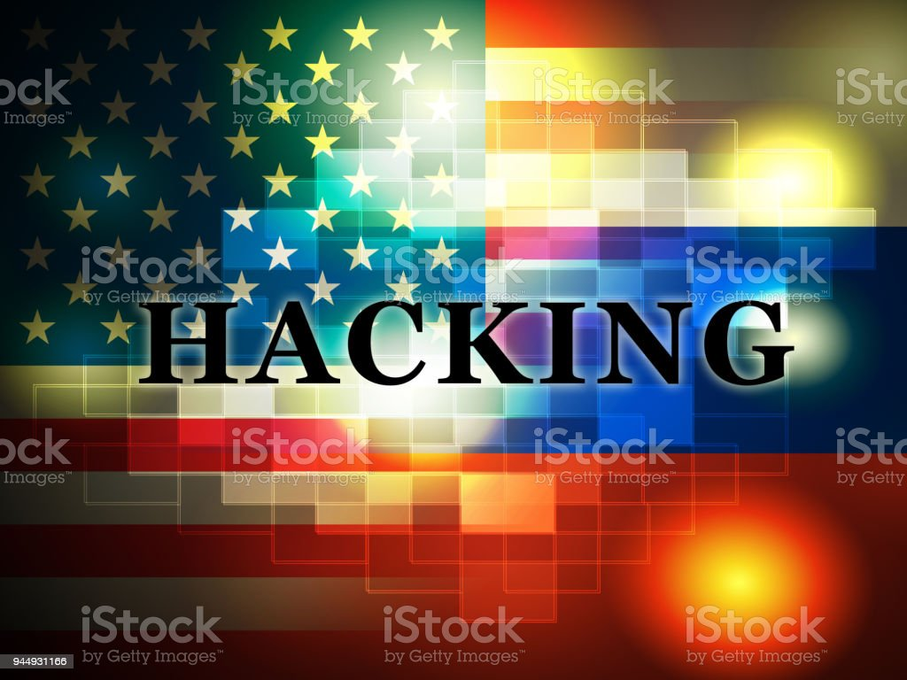 Hacking American Flag Shows Hacked Election 3d Illustration stock photo