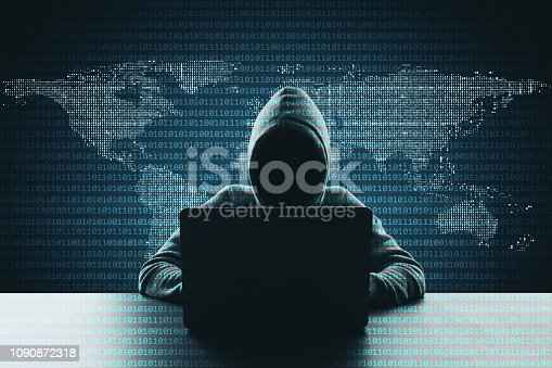 Hacker using laptop on abstract binary code map background. Hacking and phishing concept