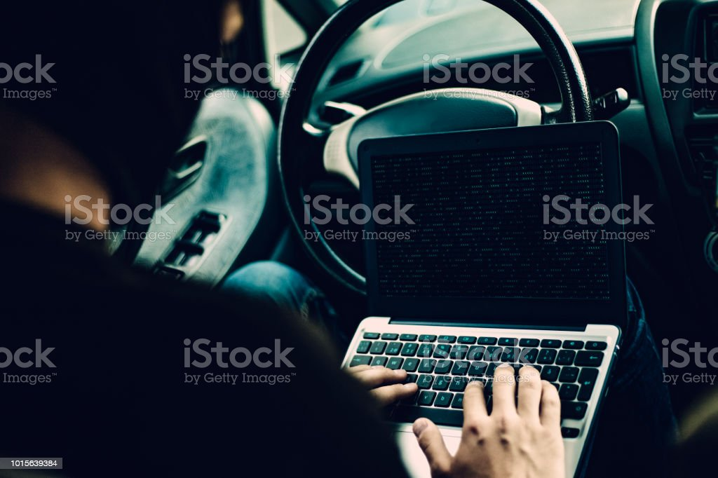 Hacking Car System stock photo