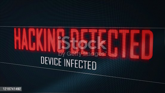 1054934004 istock photo Hacking detected device infected from virus on computer screen pixel flicker effect. Blue numeral software global network. Cyber security hacker interrupt concept. Big Data technology. 3D illustration 1215741492