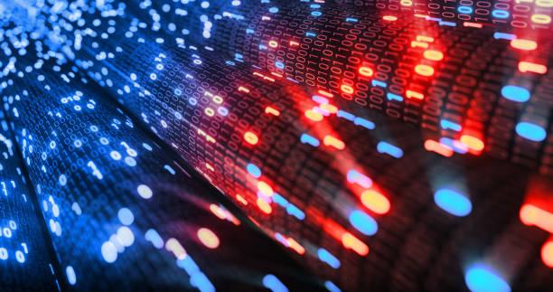 hacking de fondo de matriz de código binario digital rojo y azul 01. hacker, web oscura, matriz, código de datos digital en el concepto de tecnología de seguridad de seguridad. representación 3d - robo de identidad fotografías e imágenes de stock