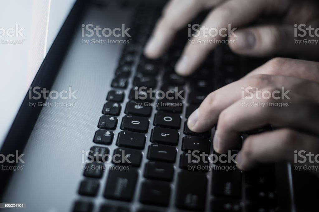 hacking the server Russian hacker in the dark web, Deep Web royalty-free stock photo