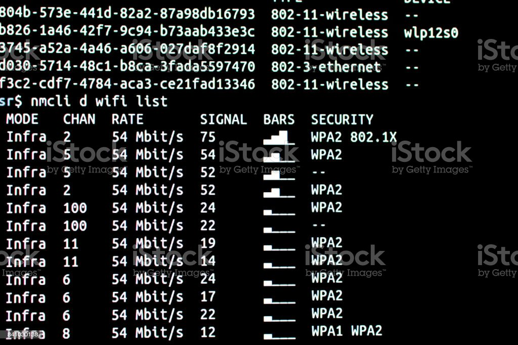 Hacking wifi. Scanning wifi networks available stock photo
