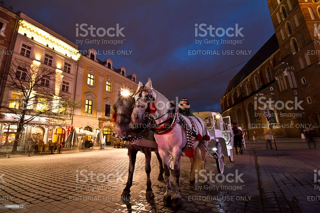 Hackney chariot in Krakow at christmastime stock photo