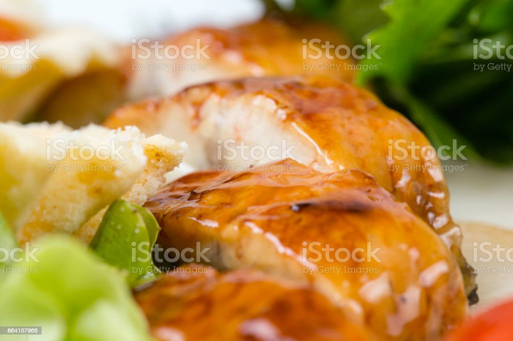 Haddock in jelly with salad royalty-free stock photo