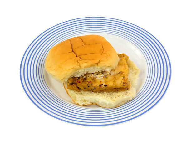 Haddock on white bun stock photo