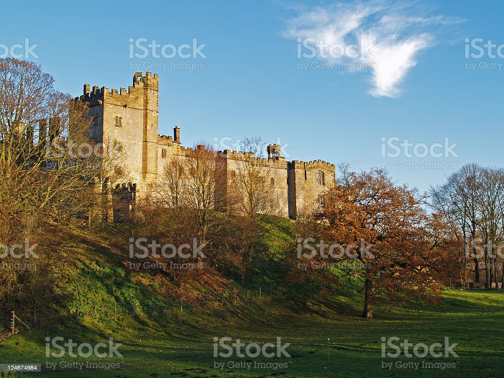 Haddon Hall , Country House in late afternoon sun . stock photo